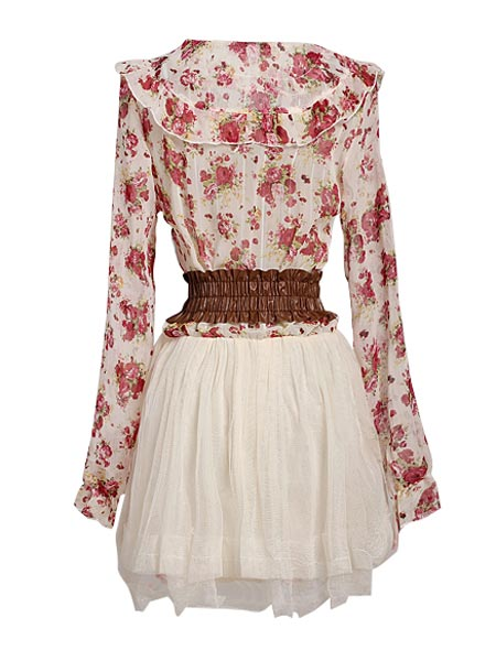 Long Sleeve Bow-knot Waist Lace Flower Chiffon Mini Dress