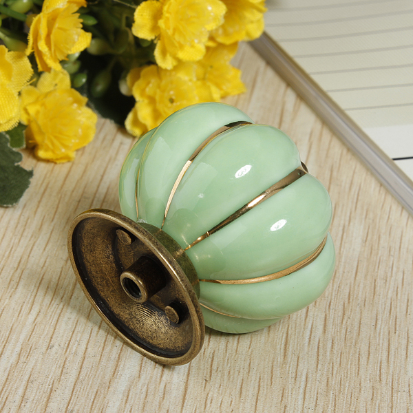 Ceramic Pumpkins Door Drawer Cupboard Pull Handles Knobs