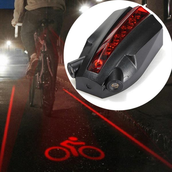 5 LED 2 Laser Beams Intelligent Bike Logo Safety Rear Tail Light