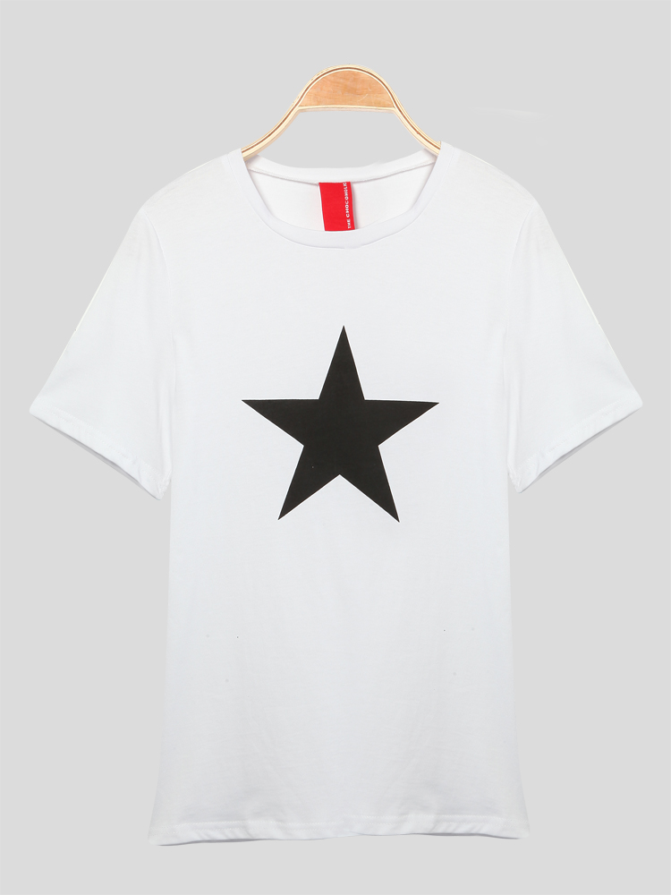 Solid Color O-Neck Short Sleeve Star Print T-Shirt