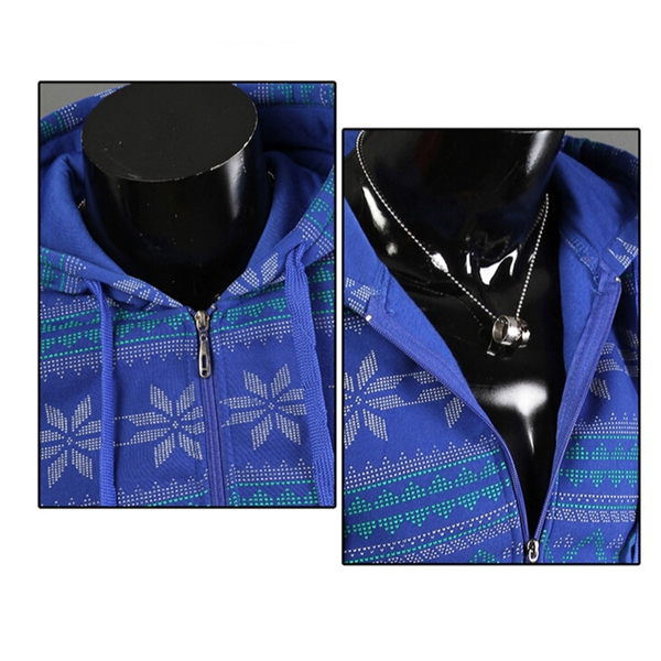Mens Fashion Slim Fit Zipper Long Sleeve Print Hoodied Coat Outerwear