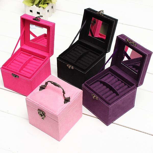 3 Layers Velvet Necklace Rings Jewelry Box Case Display Storage Container
