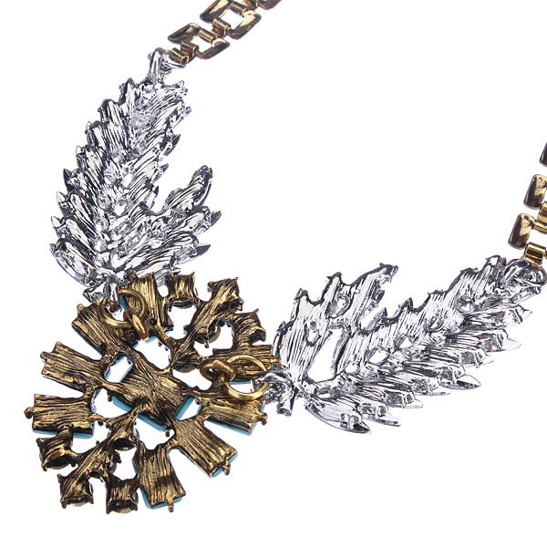 Resin Wing Feather Rhinestone Statement Necklace Chunky Metal Chain