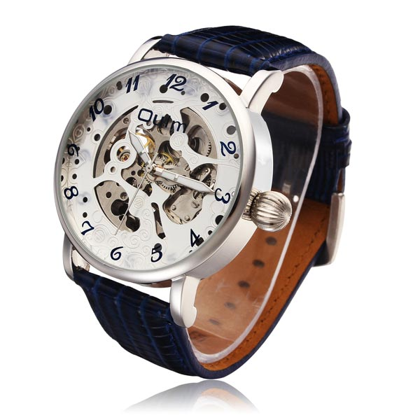 OULM Fashionable Mechanical Big Dial Men PU Leather Strap Wrist Watch