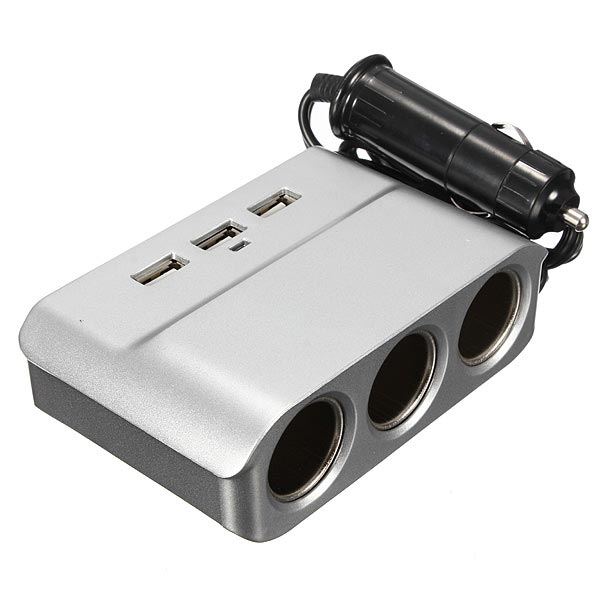 3 Way Ports Car Cigarette USB Charger Lighter Socket Splitter Adapter
