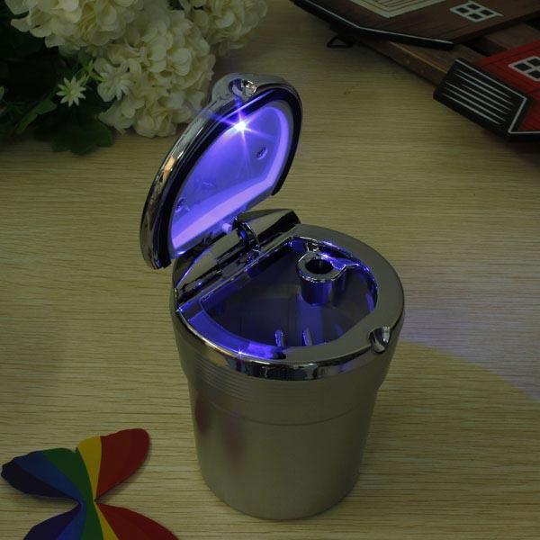 Car Travel LED Blue Light Cigarette Ashtray Portable Holder Cup Silver