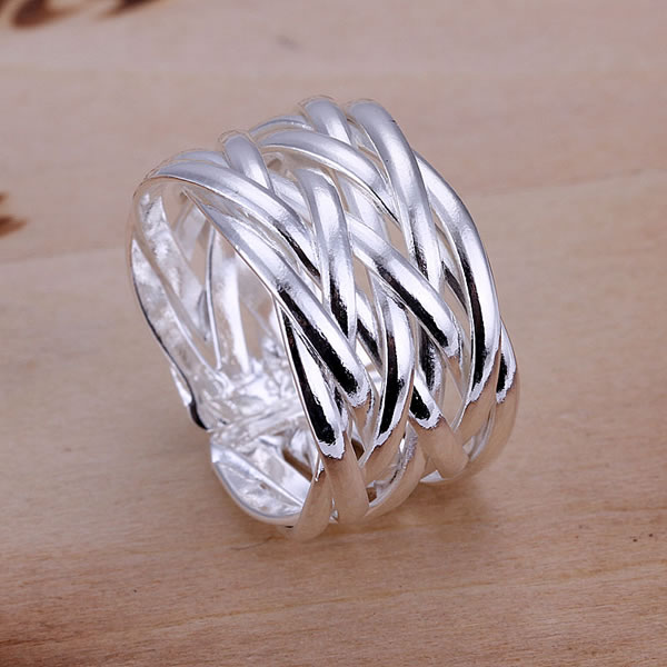 Web Weave Ring Crossed Net Opening Ring 925 Silver ...