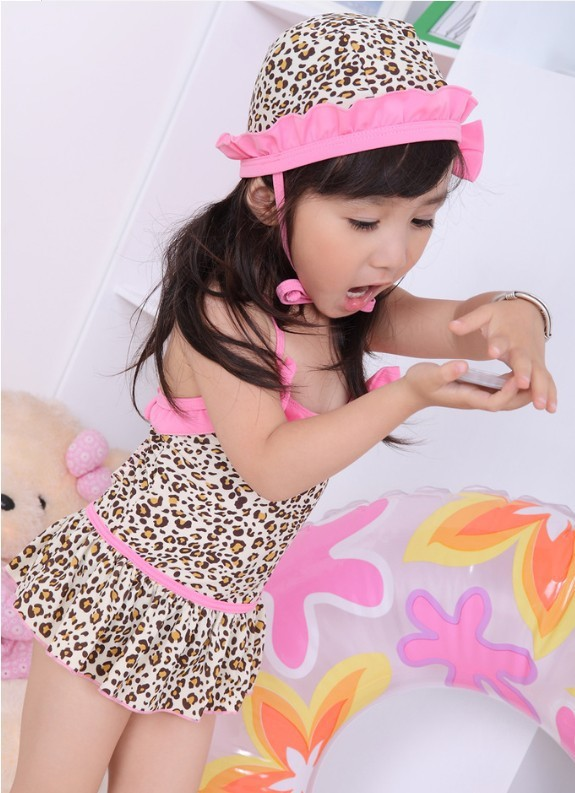 Children Baby Girls Leopard Bikini Kids Swimsuit Siamesed Swimwear