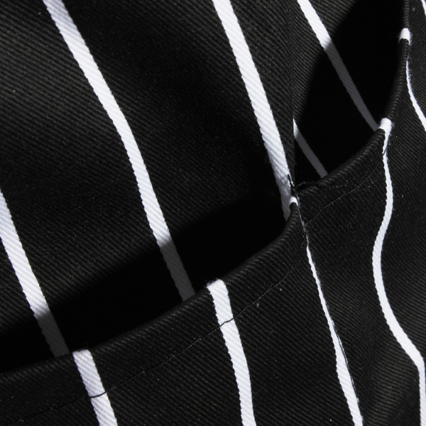 Adult Adjustable Black White Stripe Kitchen Apron Chef Uniforms with 2 Pockets
