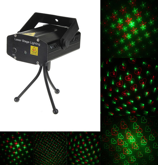 Mini Voice Control R&G Laser Lighting Projector DJ Disco Stage Light
