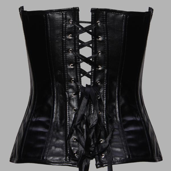 Black Faux Leather Sexy Corset Bustier