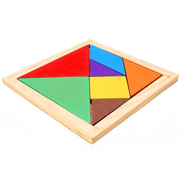 Rainbow Color Wooden Tangram 7 Piece Puzzle Brain Teaser Puzzle