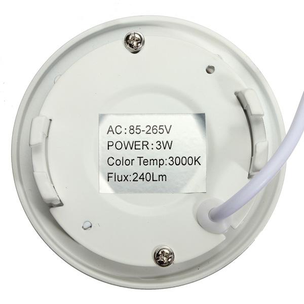 3W Round Ceiling Ultra Thin Panel LED Lamp Down Light Light 85-265V