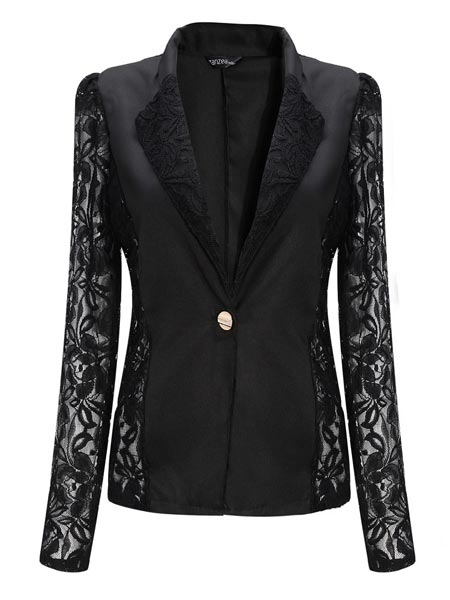 Casual Long Sleeve Lace Splicing Floral V-Neck Blazer
