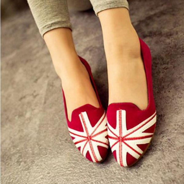 UK Flag Suede Ballet Flat Pointed Casual Shoes