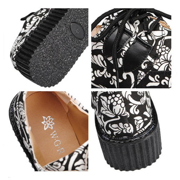 Retro Style Print Lace Up Thick Heels Platform Casual Shoes