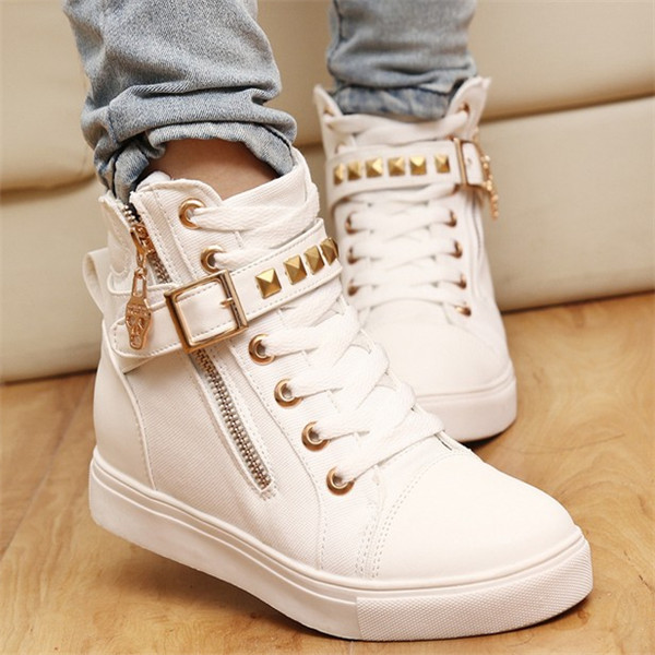 Side Zipper Buckle Wedges Rivet Platform Casual Women Shoes