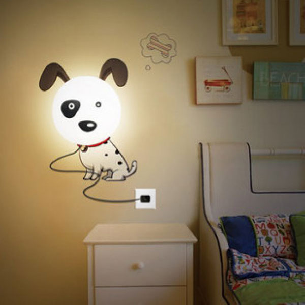 diy sticker wall lamp cartoon spotty dog led 3d night wallpaper