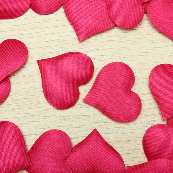 100pcs Satin Heart Shaped Wedding Scrapbook Decorations