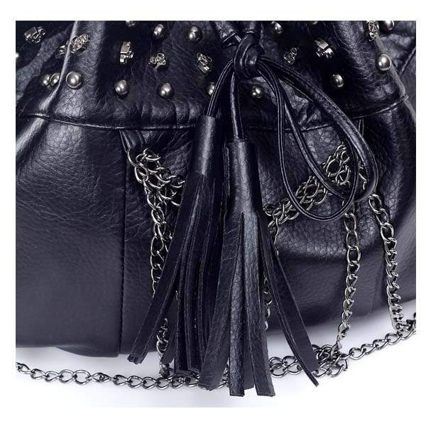 Women Punk Skull Tassel Rivet Chain Bucket Shoulder Bag