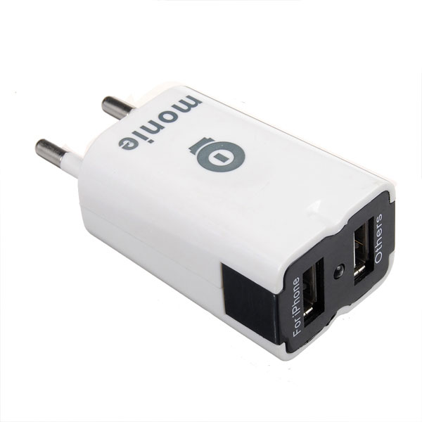 White Dual USB Port Travel Wall Charger For iPad Mini