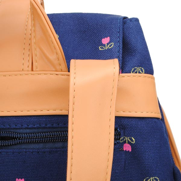 Vintage Girls Small Flowers Backpack Canvas Schoolbag Rucksack