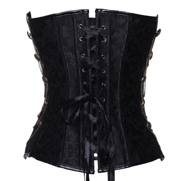 Sexy Black Waist Training Over Bust Corset Bustier With G-string