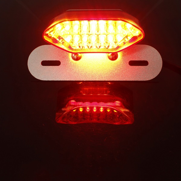 Motorcycle LED Tail Turn Signal Brake License Plate Light Red