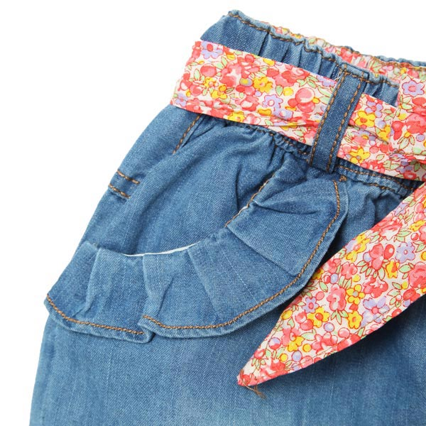 Girl Denim Shorts Children Jeans Pants With Flower Belt
