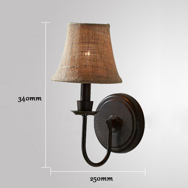 American Style Antique Brief Linen Iron Wall Lamp Bedside Aisle Light