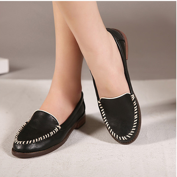 Leather Slip On Loafer Ballet Flat Casual Shoes