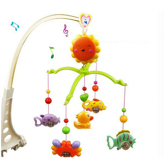 Baby Hand Bed Crib Musical Hanging Rotate Bell Ring Rattle Mobile Toy