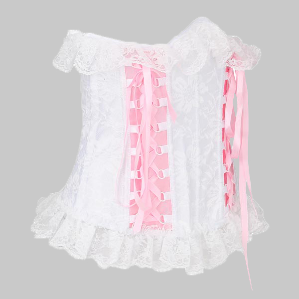 Women Lace Up White Without Strap Corset