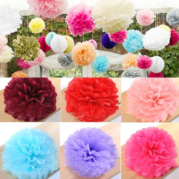 Tissue Paper Pom Poms Flower Balls Wedding Party Baby Shower Decor