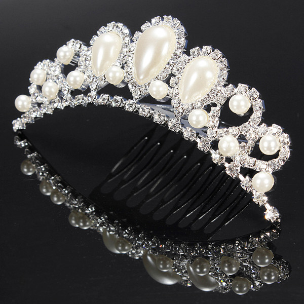 Elegant Faux Pearl Rhinestone Inlay Crown Tiara Bride's Hair Comb