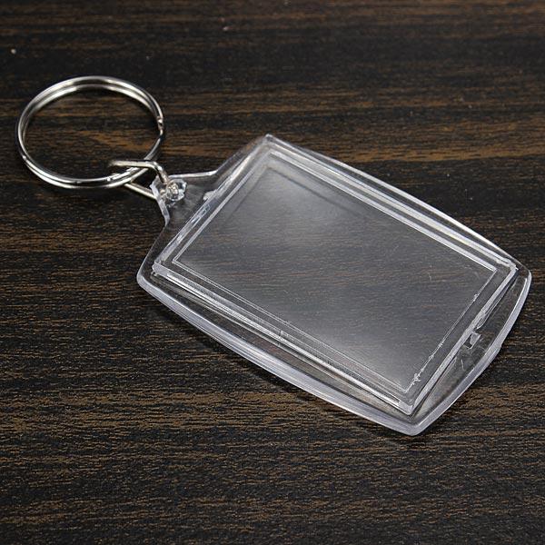 Plastic Transparent Blank Insert Photo Picture Keychain Frame Keyring