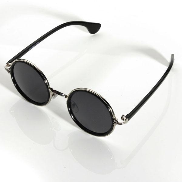 Women Men's Vintage Retro Round Golden Metal Mirrored Sunglasses