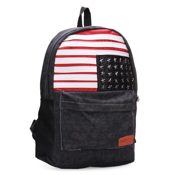 Men And Women Stripe Canvas Backpack Students School Bag Rucksack