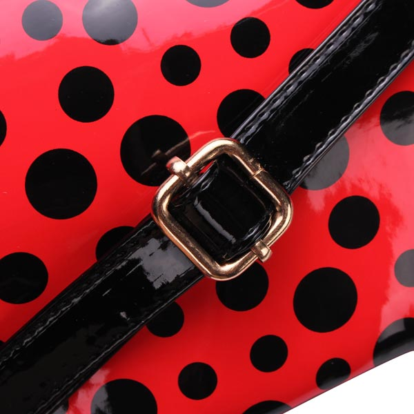 Fashion Women Polka Dots Shoulder Bag Patent Leather Cross Body Bag