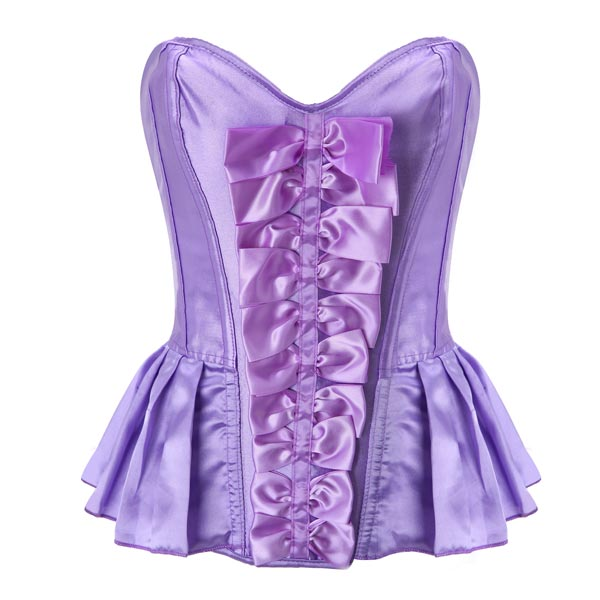 Sexy Cute Bowknot Strapless Satin Lace Up Overbust Corset Bustier