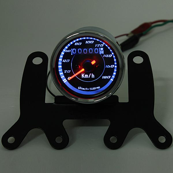 Motorcycle Odometer Speedometer Gauge Meter Dual Color LED Backlight