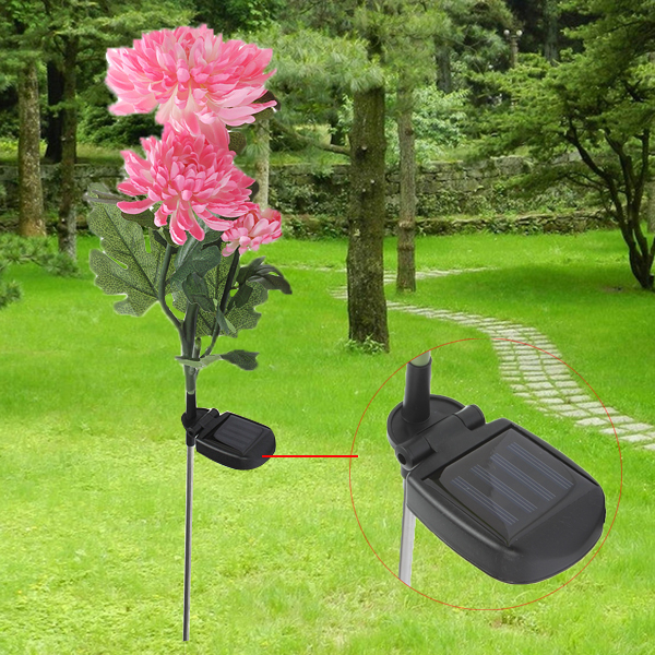 Solar Power 3 LED Chrysanthemum Flower Light Outdoor Garden Lawn Lamp