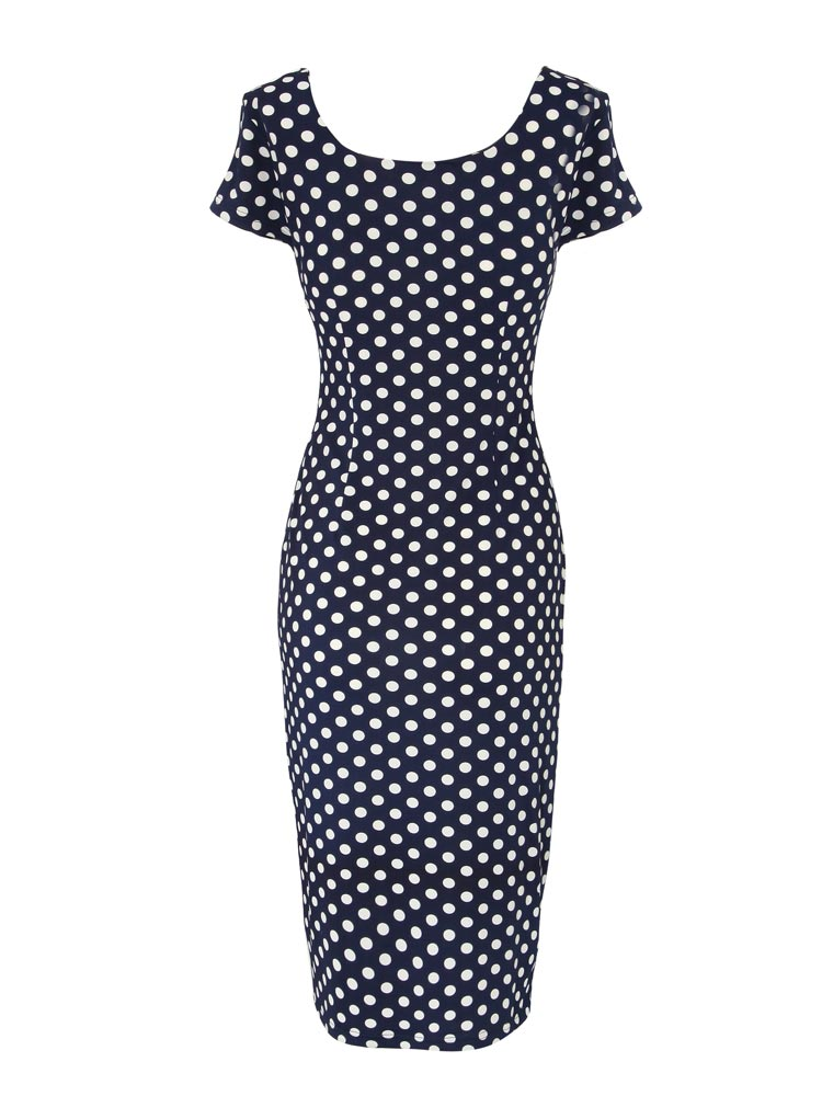 Women Stitching Polka Dots Short Sleeve Round Collar Knee-Length Dresses