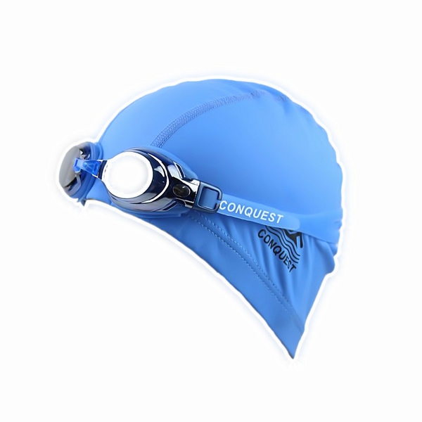 Adjustable Anti Fog Swimming Glasses Goggles + Swimming Cap Set