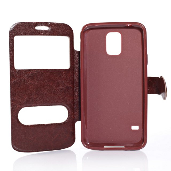Crazy Horse Pattern Window Leather Cover For Samsung Galaxy S5 I9600