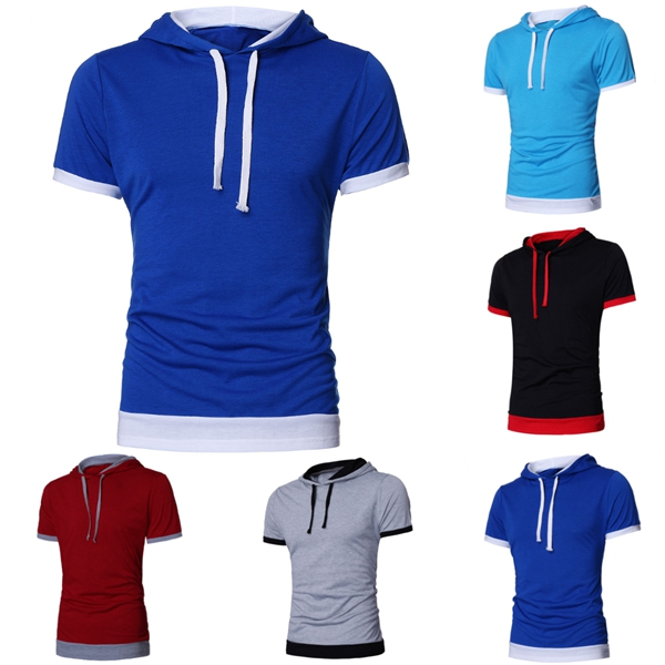 Mens Summer Fashion Solid Hooded Casual Slim Short-sleeved T-shirt