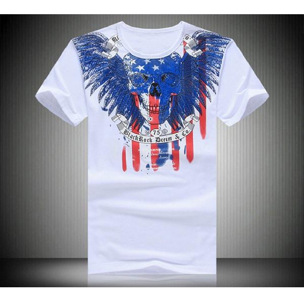 Mens Summer Thin Skull Printed Short Sleeve Casual T-shirt