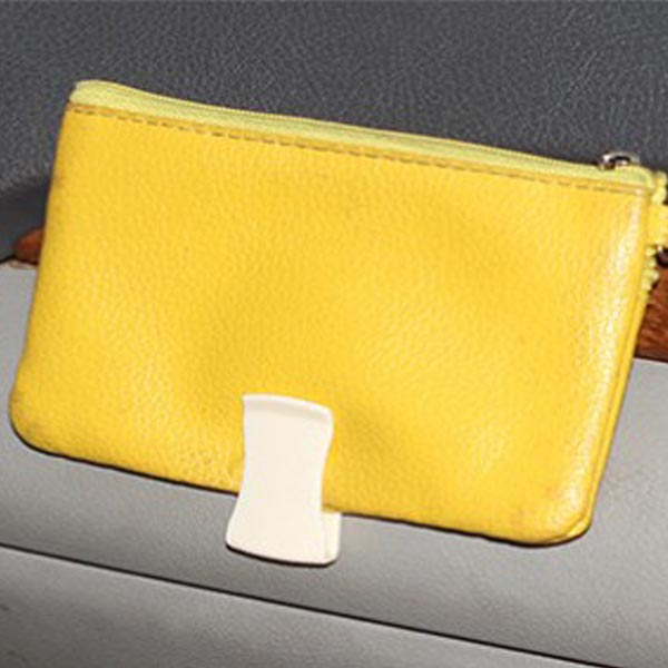 2PCS HK-101 Car Convenience Card Clip/Hook Leather Pattern Design