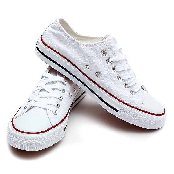 Women Canvas Lace Up Low Sneakers Casual Flat Shoes