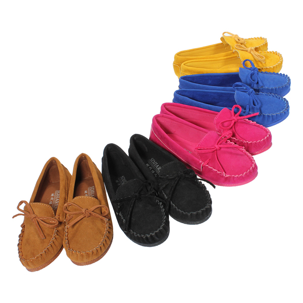 Women Colorful Butterfly Knot Suede Slip On Flat Shoes Loafers